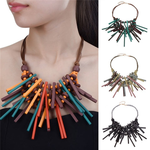 Ekua Wooden Sticks Statement Necklace