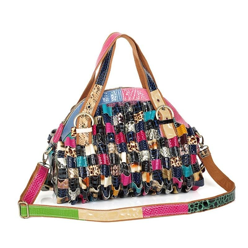 Porto Alegre Genuine Leather Colorful Ruffles Texture Handbag