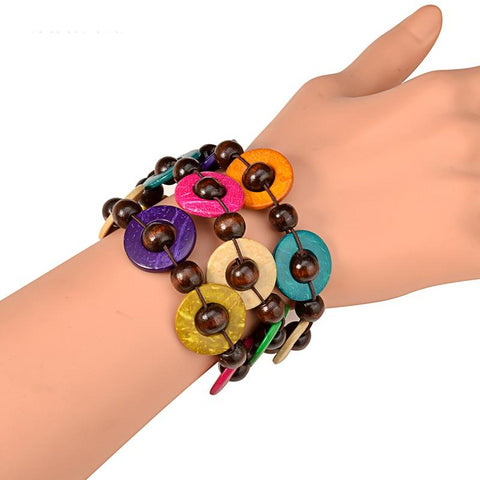 Deborah Colorful Disks Wooden Bracelet