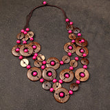 Baako Beads and Wooden Buttons Long Necklace