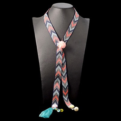 Valda Woven Ribbon Flat Long Necklace