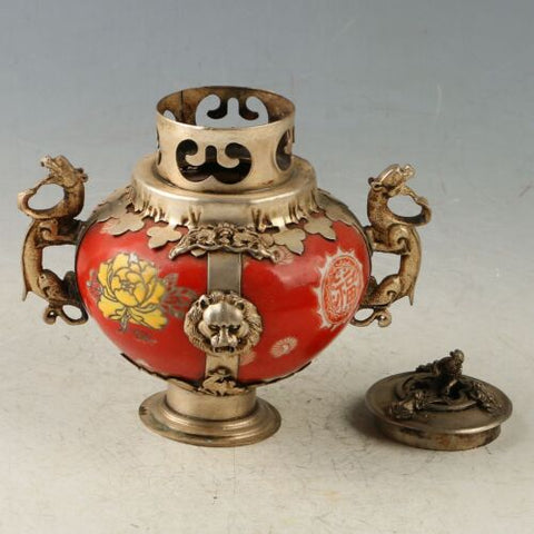 Exquisite Chinese Old-style Red Porcelain Incense Burner