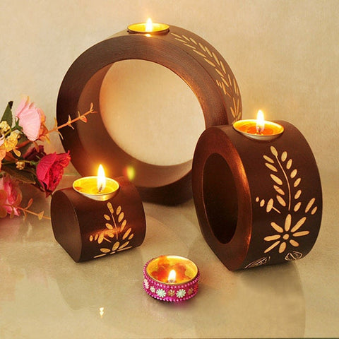 Harmonious Circles Tealight Candle Holders (Set of 3)