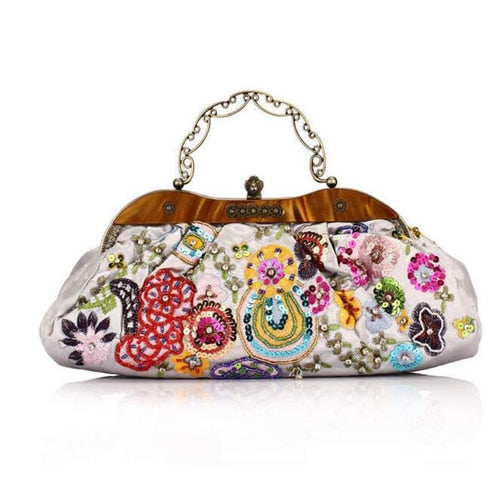 Delicate Hand-Beaded Silk Embroidery Evening Bag