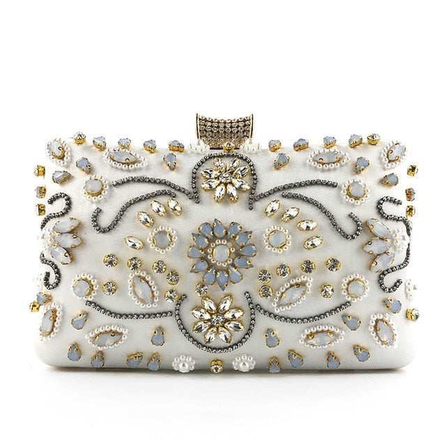 Luxury Lotus Crystals Embroidery Eening Bag