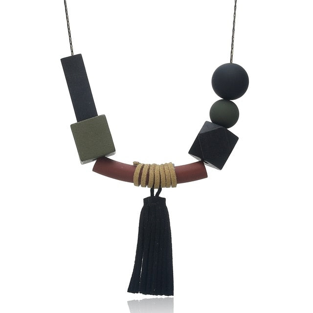 Sapir Wood Beads and Tassel Necklace
