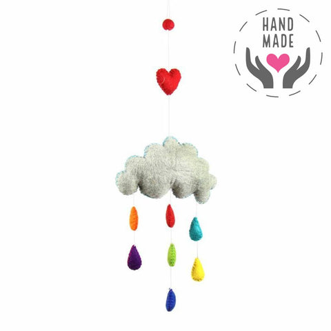 Rainbow Raindrops Hand-Felted Mobile Games