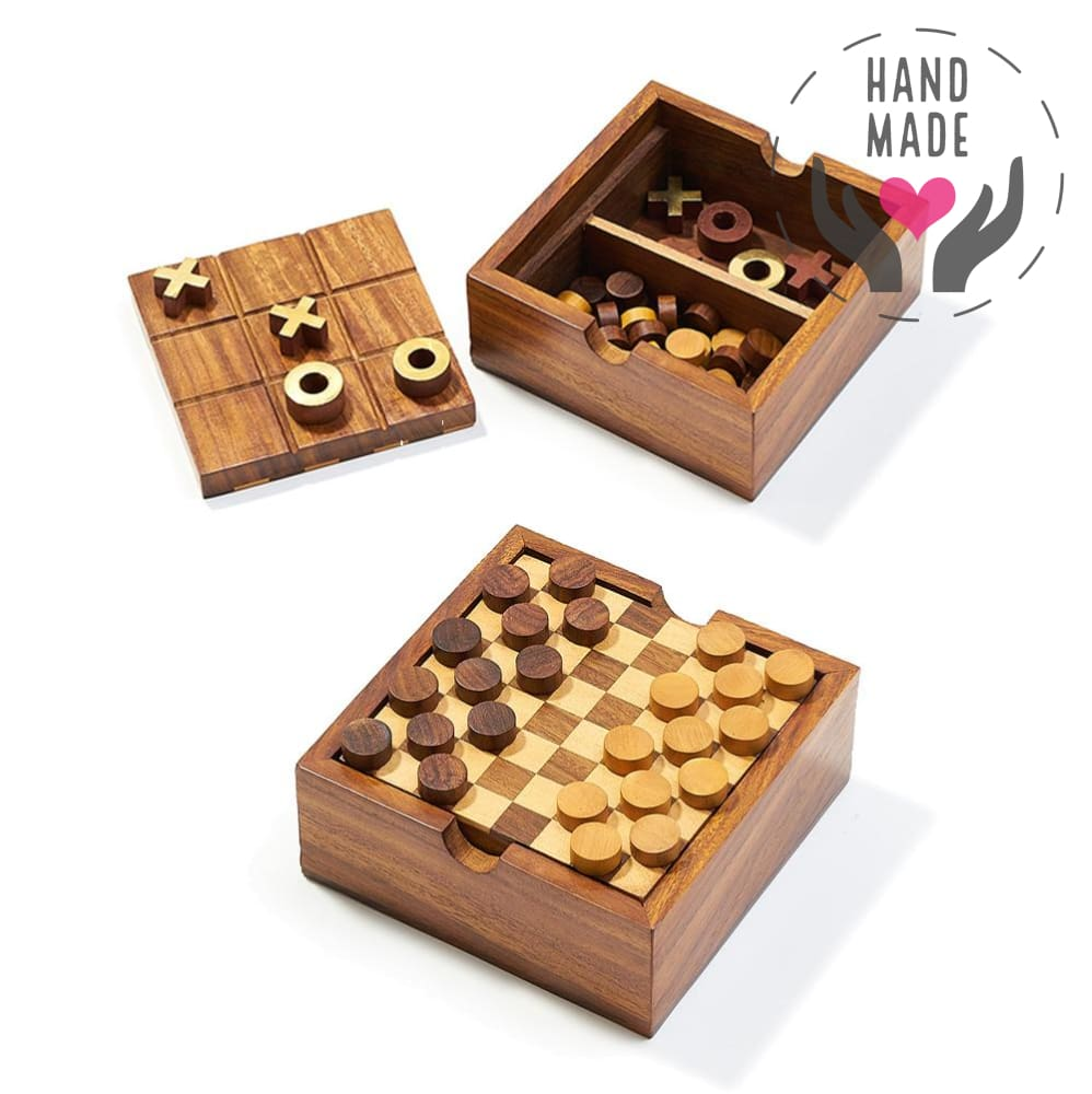 Rosewood 2-In-1 Hand Crafted Game Set Games