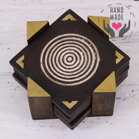 Spiral Slices Wood & Brass Coasters