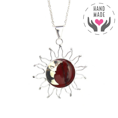 Sun And Moon Red Jasper Handmade Pendant Necklace