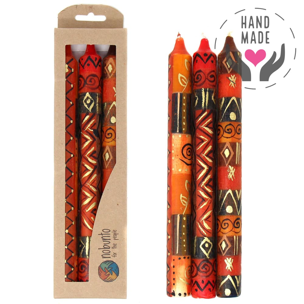 Tall Hand-Painted Candles - Bongazi Design (Box Of 3)