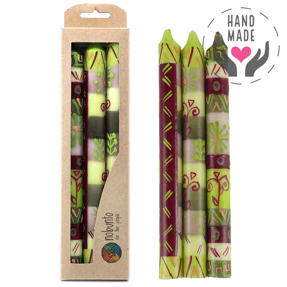 Tall Hand Painted Candles - Kileo Design (Box Of 3)