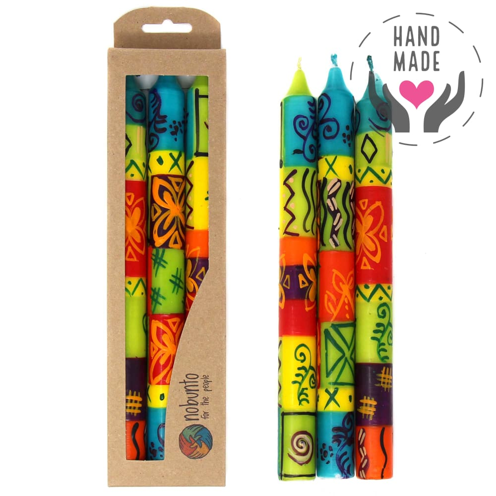 Tall Hand-Painted Candles - Matuko Design (Box Of 3)