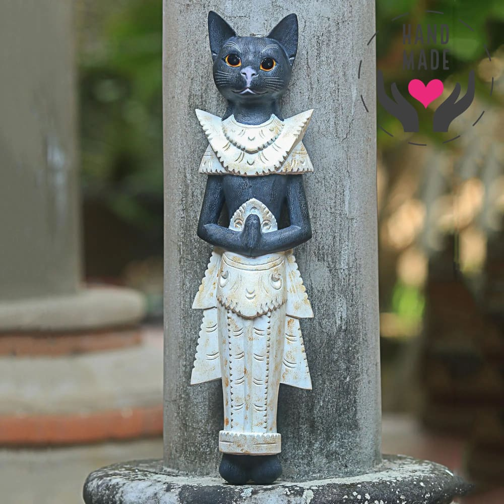 Thai Cat Tall Statuette Sculptures