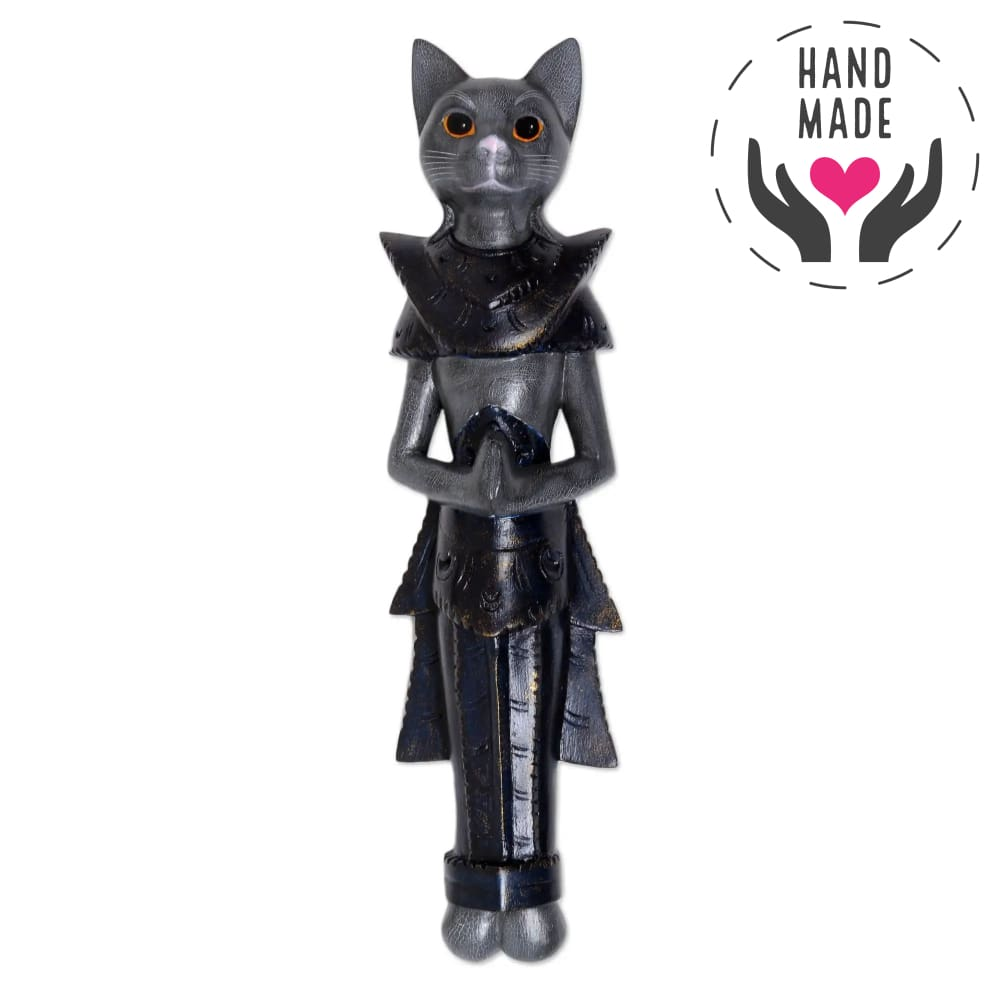The Black Knight Cat Tall Statuette Sculptures