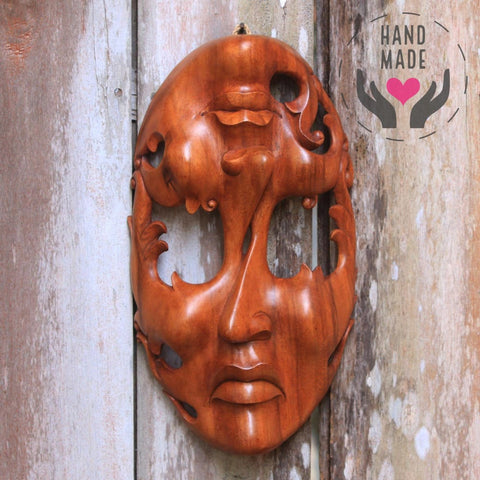 Twin Emotions Suar Wood Mask Masks