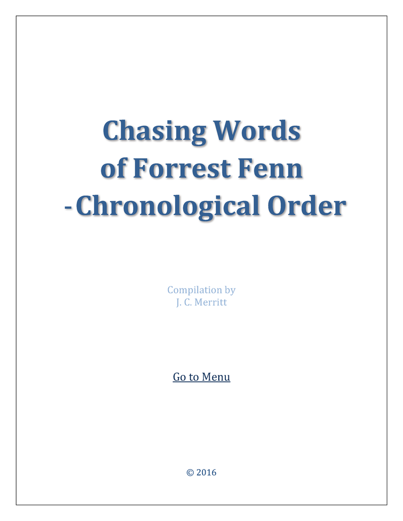chasing words chronological order 76 pages - Cronological