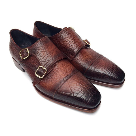 Paul Parkman Double Monkstraps Brown Leather Upper & Leather Sole (ID#BG12-BRW)