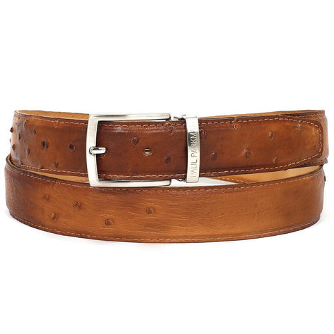 PAUL PARKMAN Men's Camel Genuine Ostrich Belt (ID#B04-CML)