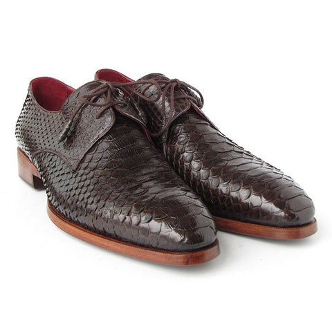 Paul Parkman Men's Brown Genuine Python Derby Shoes (ID#66CK94-BRW)