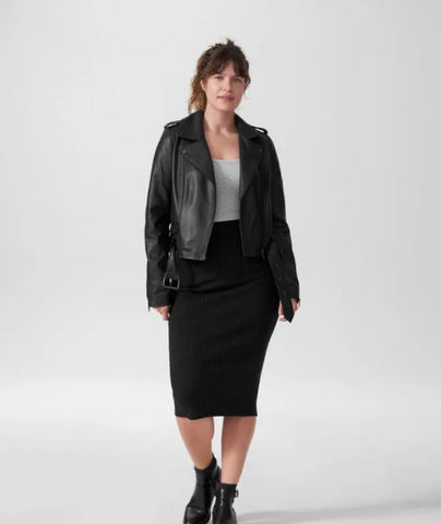 Plus Size Real Leather Jacket Up to Size 40