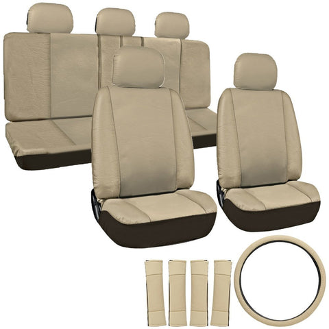 17 Piece Deluxe Leatherette Full Seat Cover Set Solid Tan Give10Back GiveTenBack