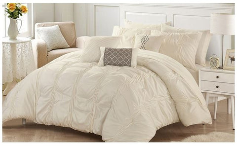 Chic Home Mori Pinch Pleated Comforter Set 10PC - Beige - Size Queen Give10Back GiveTenBack