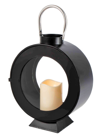 Give 10 Back 039502671869 Threshold Outdoor Round Metal Lantern with Candle - Black Give 10 Back Give10Back