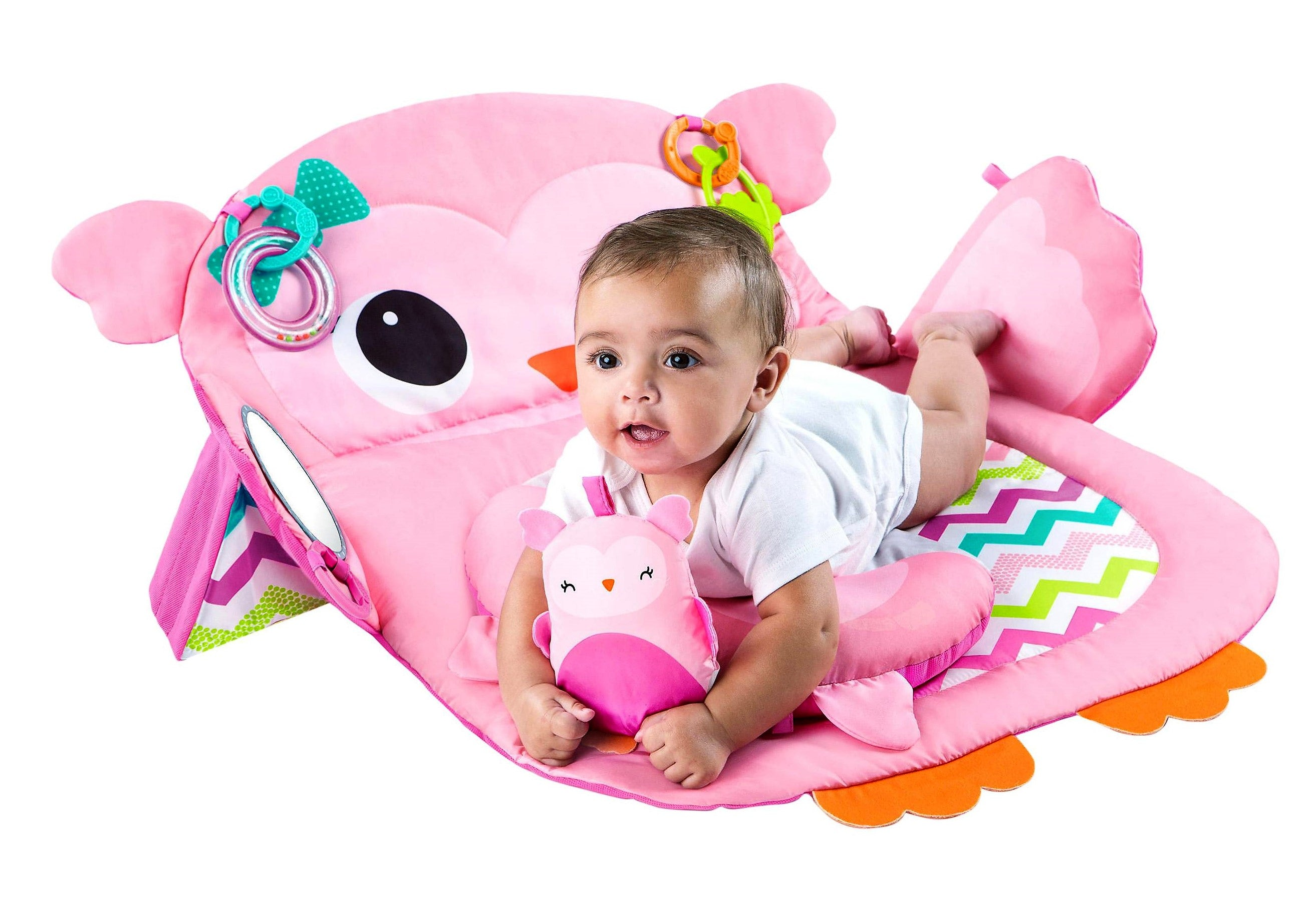 Bright Starts Pretty in Pink Tummy Time Prop Play Activity Mat