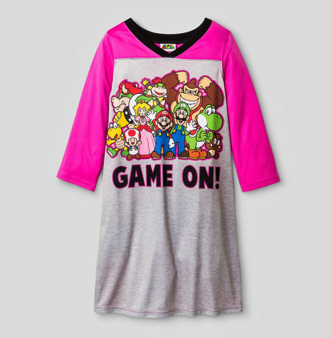 Give 10 Back 490350205833 Nintendo Girls' Super Mario Nightgown - Gray Give Ten Back Give10Back