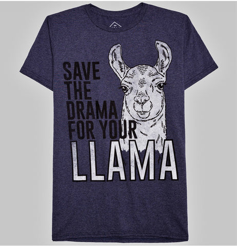 Give 10 Back 490430195238 Men's Save the Drama for your Llama Graphic T-Shirt - Well Worn Navy Heather XL Give Ten Back Give10Back
