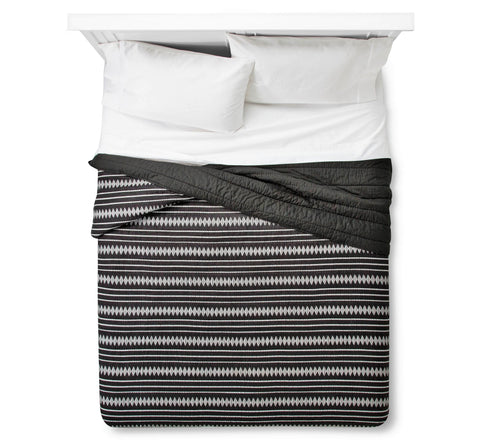 Give 10 Back 490601516541 Nate Berkus Woven Multi-Stripe Quilt Full/Queen Black - Deep Charcoal Give Ten Back Give10Back