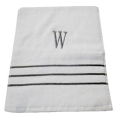 Give 10 Back 490640215665 Fieldcrest Monogram Bath Towel W - White/Skyline Gray - Pack of 3 Give Ten Back Give10Back Black Friday Giving Tuesday Cyber Monday