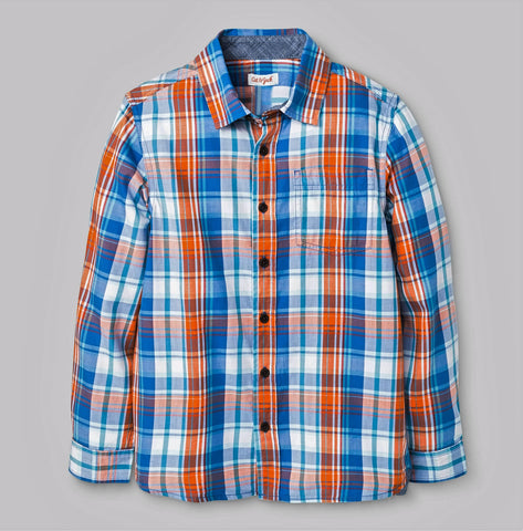 Give 10 Back 490760332976 Boys' Button Down Shirt in Kente Blue & Orange - Cat & Jack Give Ten Back Give10Back