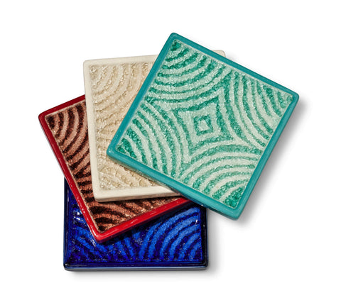 Give 10 Back 492000900518 Threshold Set of 4 Patterned Coaster Set Stoneware Give 10 Back Give10Back