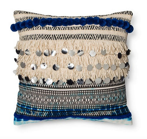Give 10 Back 70490601006676 Blue Fringe & Sequins Square Throw Pillow 16inx16in Xhilaration Target Teal New Give 10 Back Give10Back