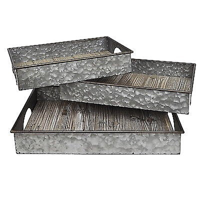 Give 10 Back 726674430362 Three Hands 43036 Gray Galvanize Metal Tray- Set Of 3 Give Ten Back Give10Back