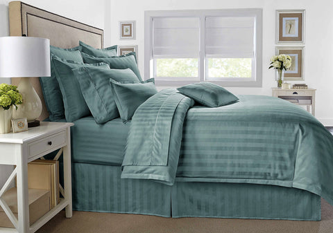 Give 10 Back 806222042947 Wamsutta 500-Thread-Count PimaCott Damask Stripe Full/Queen Duvet Cover Set in Aqua Black Friday Giving Tuesday Cyber Monday Give Ten Back Give10Back