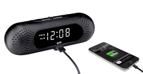 Give 10 Back 844220008121 SXE Digital Alarm Clock with USB Charger - Black Give Ten Back Give10Back