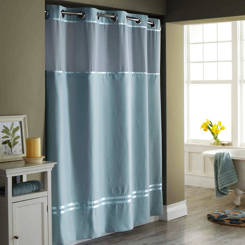 Give 10 Back 877003012121 Hookless Escape Seafoam Blue 71in x 86in Long Fabric Shower Curtain and Liner Set Give Ten Back Give10Back - Black Friday-Giving Tuesday-Cyber Monday