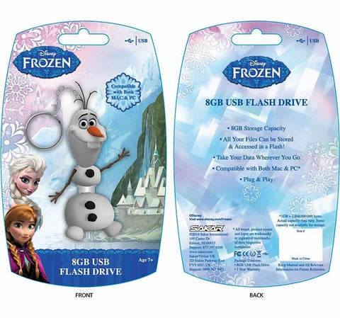 Give10Back 021331677747 Disney 8GB Frozen-Olaf USB 2.0 Flash Drive Give 10 Back Give Ten Back