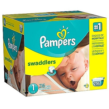 Give10Back-37000863823-Pampers-Swaddlers-Diapers-Size-1-Economy-Pack-216-Count-Extra-Absorbent-Give-10-Back-Give-Ten-Back