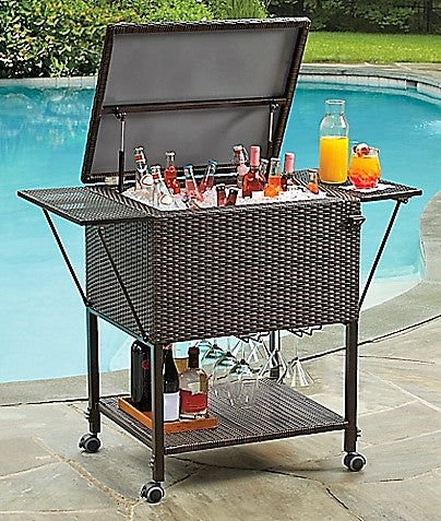 Give10Back 444100092969 Stratford Insulated Cooler Cart All-Weather Wicker Give 10 Back Give Ten Back