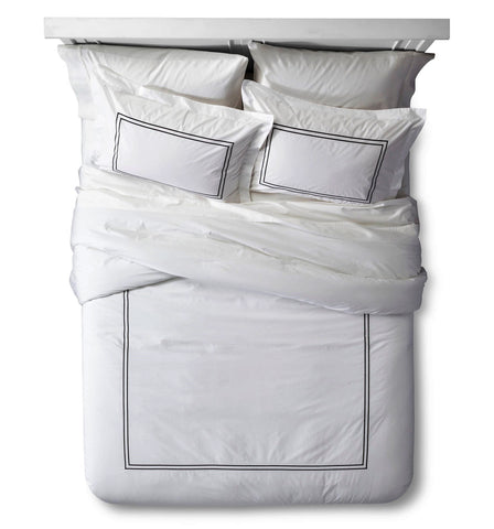 Give10Back 490601313317 Fieldcrest Luxury Classic Hotel Comforter Set in White & Black - King Size Give 10 Back Give Ten Back