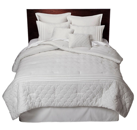 Give 10 Back 490602605831 Colette 8 Piece Bedding Queen Comforter Set - White Black Friday Cyber Monday Christmas Gift Sale Give Ten Back Give10Back