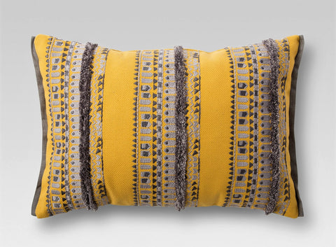 Give 10 Back 490670807472 Yellow Woven Lumbar Pillow Black Friday Christmas Gift Give Ten Back Give10Back