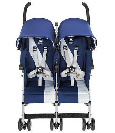 Give10Back 688222214995 Maclaren Twin Triumph Double Stroller in Medievel Blue/Silver Give 10 Back Give Ten Back