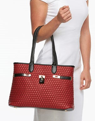 Give10Back 700604355932 Mellow World Hermia Honeycomb Quilted Tote in Red, Still in Bag Give 10 Back Give Ten Back