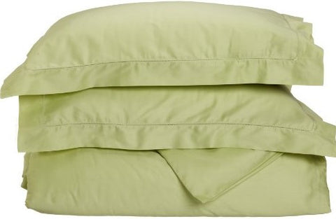 Give10Back 712497001148 Tuscany Fine Italian Linens Milange 300 Thread Count Egyptian Cotton Full/Queen Duvet Cover Set, Spring Green Give 10 Back Give Ten Back