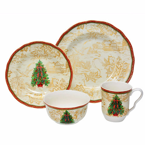 Give10Back 727870015209 Holiday Dishes - 16pc Christmas Dinnerware Set Black Friday Cyber Monday Christmas Sale Give Ten Back Give 10 Back